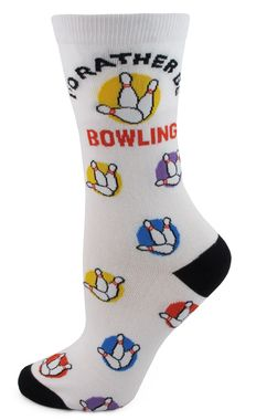 I'd rather be bowling! Now you can with these fun bowling socks. Whether you play on team or just for fun these socks are funky and fun. Conrasting black heel and toe. Grab a pair for you and a fellow
