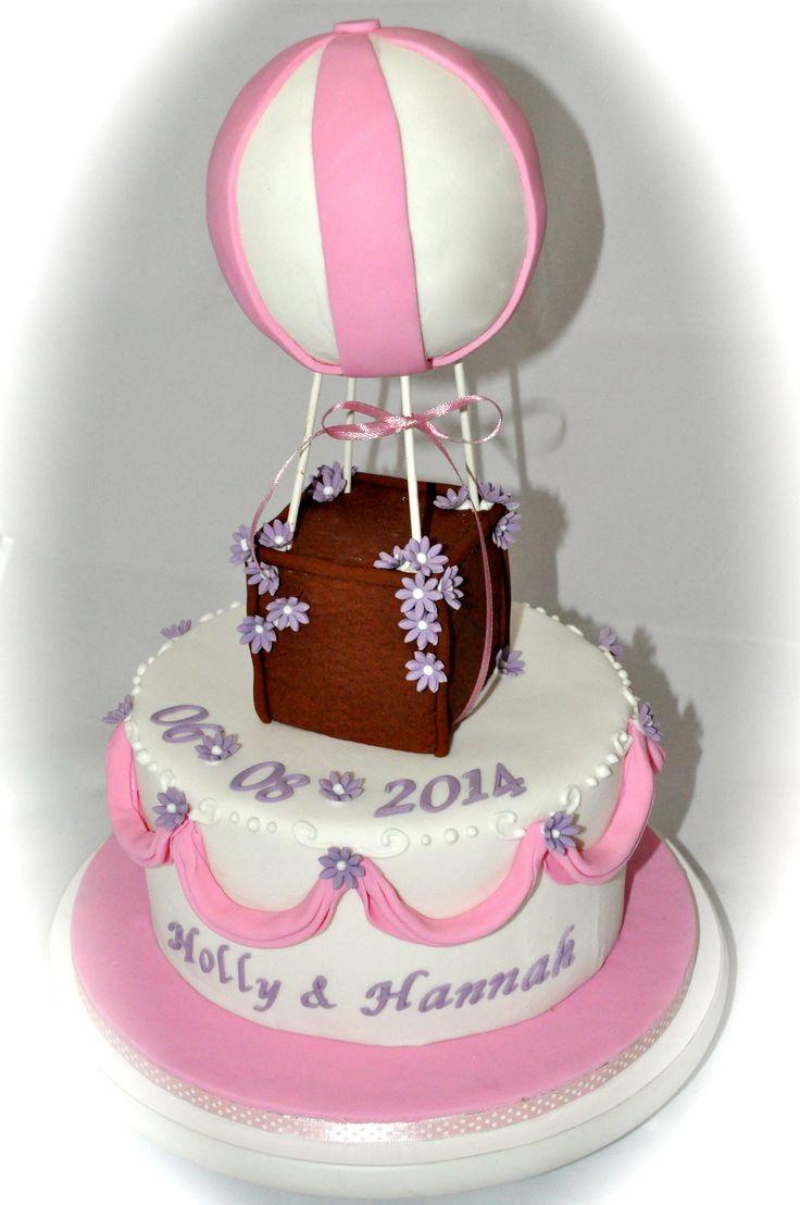 Hot Air Balloon Christening cake pink & purple
