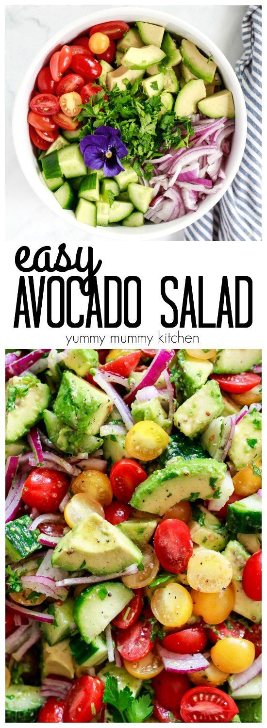Easy avocado salad with tomatoes, cucumber, and a mustard vinaigrette dressing. This avocado salad is delicious alone or over lettuce!