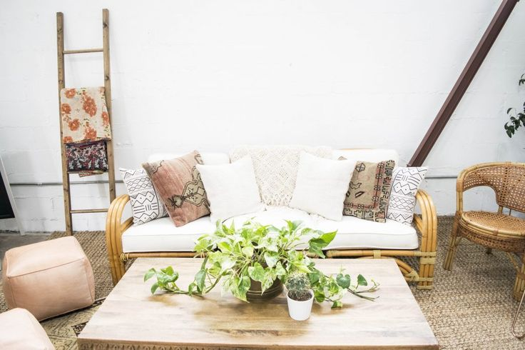 Greenery Centerpiece, Neutral Lounge Area | Bloguettes Blogging Workshop: Austin via Birch & Brass Vintage Rentals for Weddings and Special Events in Austin, Texas