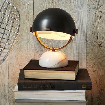 Clint Mini Task Lamp - Marble / Black · West Elm