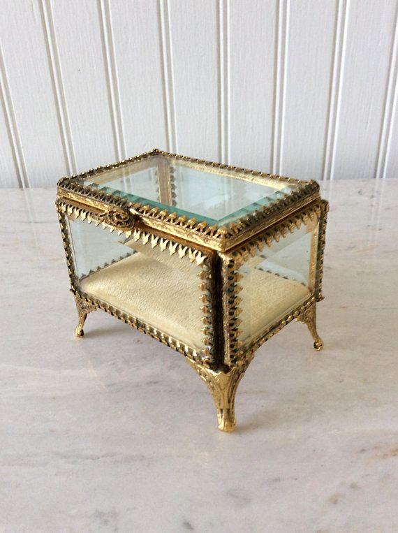 Ornate Jewellery Box : ornate, jewellery, Vintage, Ormolu, Footed, Jewelry, Beveled, Glass,, Glass, Casket,, Hollywood, Regency,, Vanity, Decor, Ornate, Jewelry,