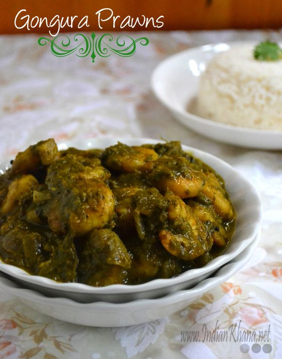 Gongura Prawns   Gongura Royyalu Recipe  Popular Andhra gongura prawns is sorrel leaves cooked with prawn and mild spices to make this delicious curry.
