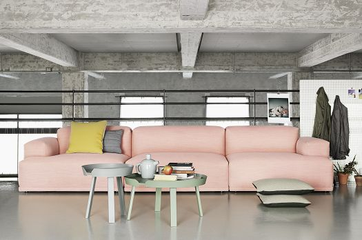 Pastel pink paired with acidic yellow and grey.