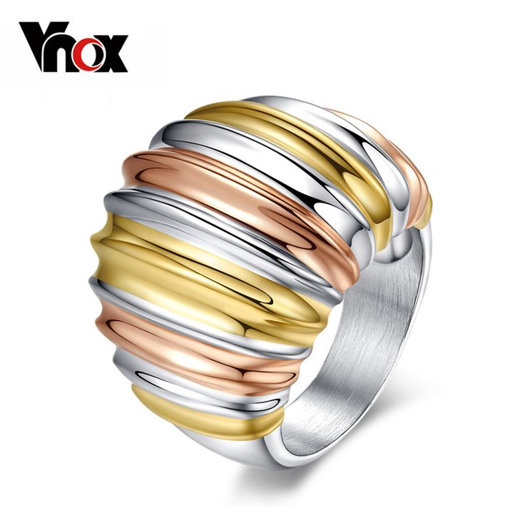 Vnox Fashion  gold & silver plated big rings for women stainless steel engagement ring brand women jewelry