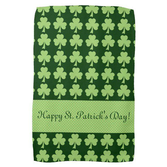 Personalize Shamrock Polka Dots St Patrick S Day Kitchen Towel
