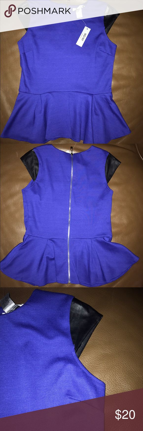 """👚NWT  WD.NY Blue Peplum Top Black Faux Leather Very cute peplum cap sleeve top with full length silver back zipper. """"New"""". Machine wash/dry 95% polyester, 5% spandex. sleeve 100% faux leather WD. NY Tops"""