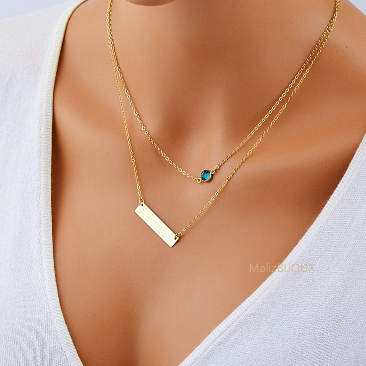 Layered Necklace Bar, Delicate Birthstone Necklace, Personalized Bar
