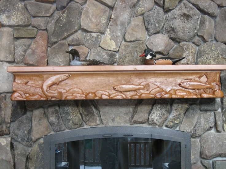 Hand Carved Trout Stream Mantel Carved In Local Cherry