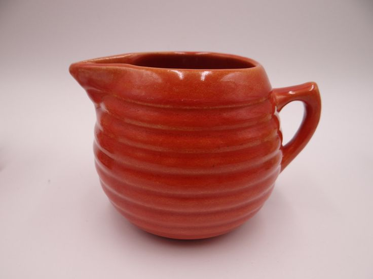 1930s Bauer Pottery Ring Ware 12oz Red Orange Creamer