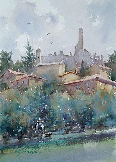 Cortona, Italy IX by Keiko Tanabe Watercolor ~ 11 1/2 x 8 1/4 inches (29 x 21 cm)