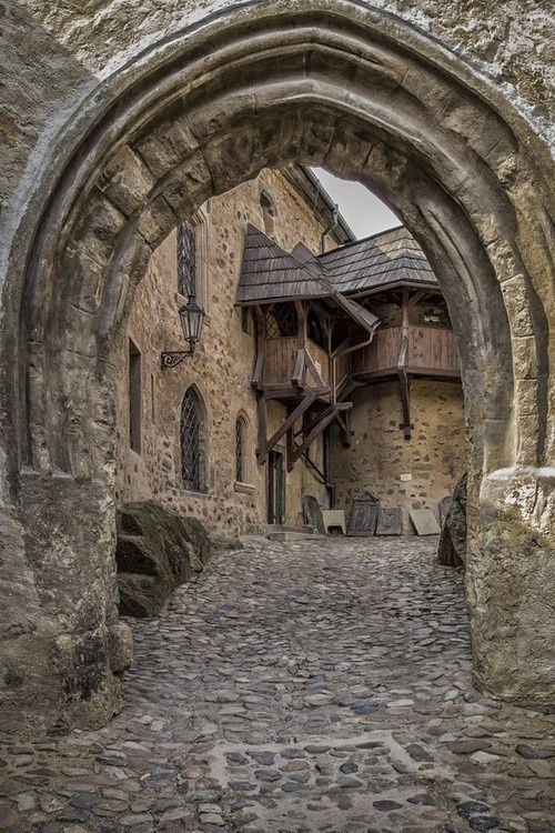 Entrance to Loket Castle a 12th-century Gothic style castle located about 12 km from Karlovy Vary on a massive rock in the town of Loket,  Czech Republic