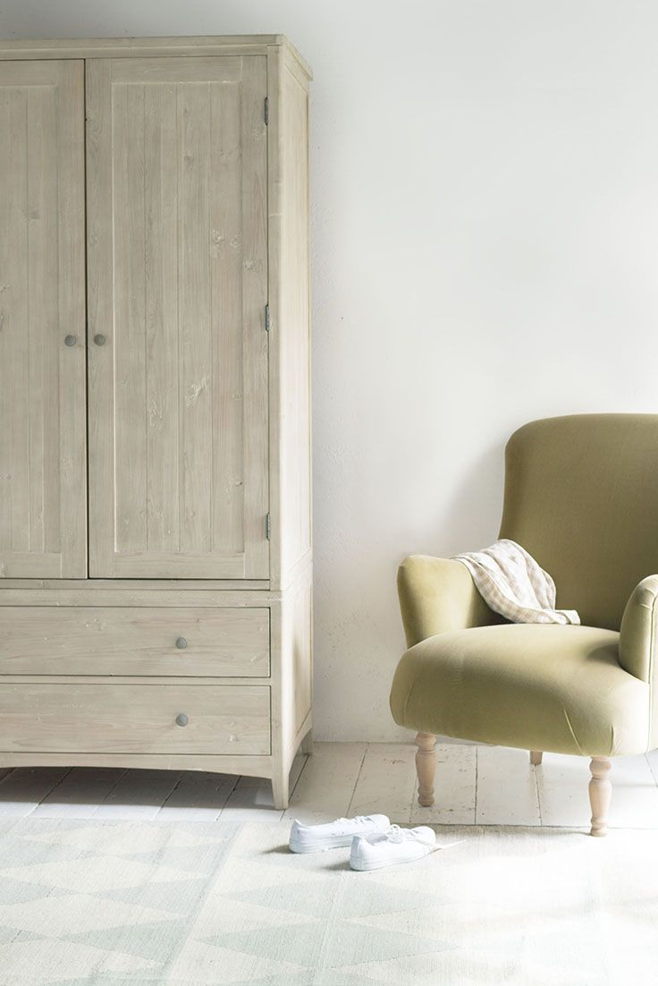 SWASH WARDROBE £995 wardrobe, wood, wooden, wood wardrobe, green chair, velvet armchair, wooden furniture, bedroom, bed, bedroom furniture, clothes storage