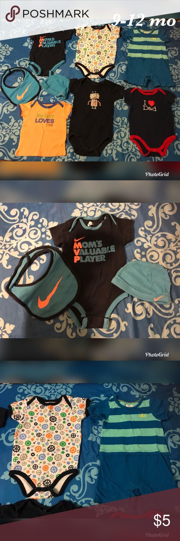 9-12 month Bundle #2 Brands: HB, Luvable Friends, Children's Place & Nike  GUC, no holes or stains. Please enhance pictures to see condition before buying. Bundle & Save:)) Nike One Pieces
