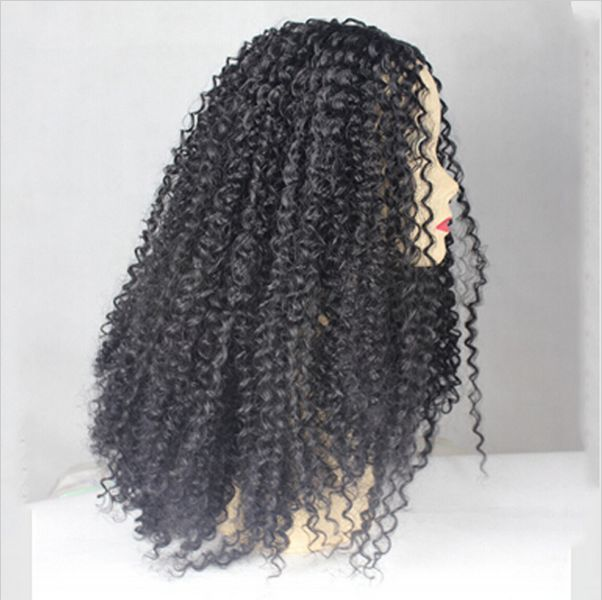 """24""""Heat Resistant Lace Front Wig Synthetic Hair Kinky Curly Black Color"""
