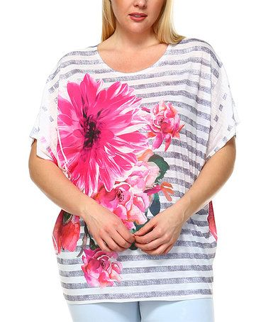 Pink Floral Stripe Relaxed-Sleeve Tunic - Plus #zulily #zulilyfinds