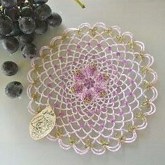# #originaltattinglace # original tatting race # grape pattern # daily # tatting race # tatting # tattinglace # tatting #frivolite # 40 size 21 cm # Do not copy my design ### Japanese input can not be done suddenly, Did.  Although I was impatient, it was possible to input it by PC after examining it.  Although I could not input the pictograms you are using until now, you can use similar emoticons if I use another application! I am very happy