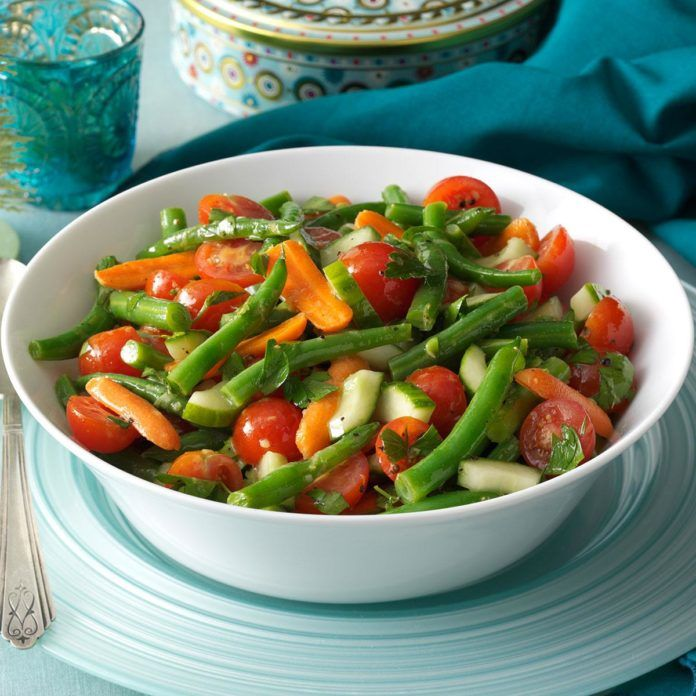 Fresh Green Bean Salad Recipe In 2020 Green Beans Healthy Salad Recipes Green Bean Recipes