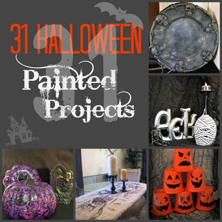 31 Halloween Paint Projects - all beginner level! crafts, decorations, and tutorials, with lots of Dollar Store crafts too!