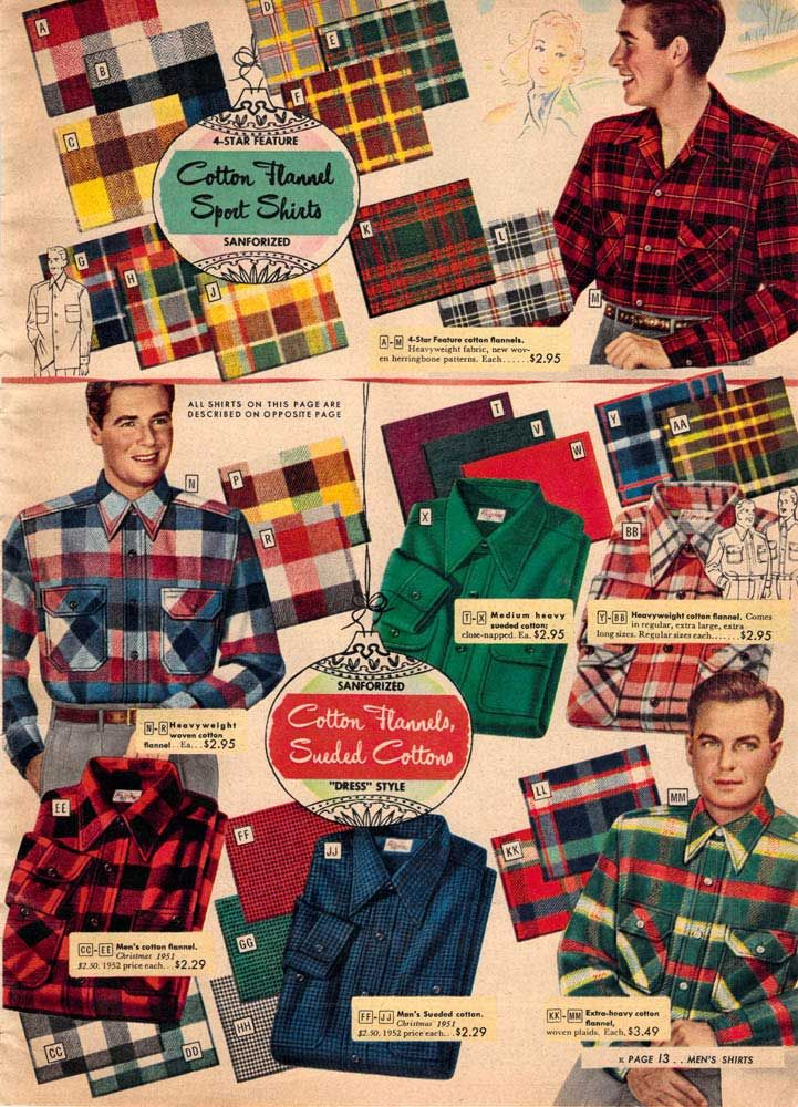 Vintage Mens Flannels from a 1952 Sears catalog