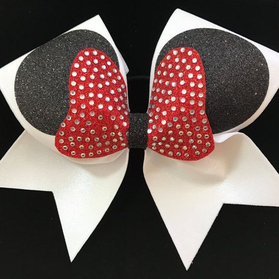 Minnie ears custom cheer bow in white with by CheerbowsDepot