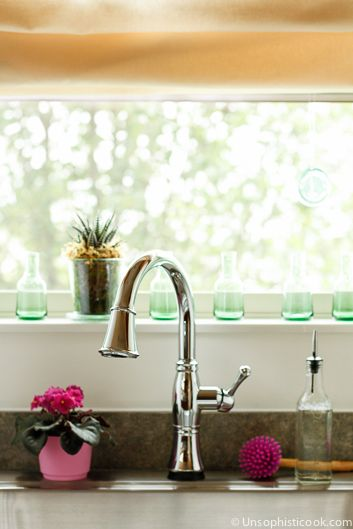 Delta Cassidy Touch2O Kitchen Faucet After -- isn't it BEAUTIFUL?!? I'm in love...   via @unsophisticook on unsophisticook.com