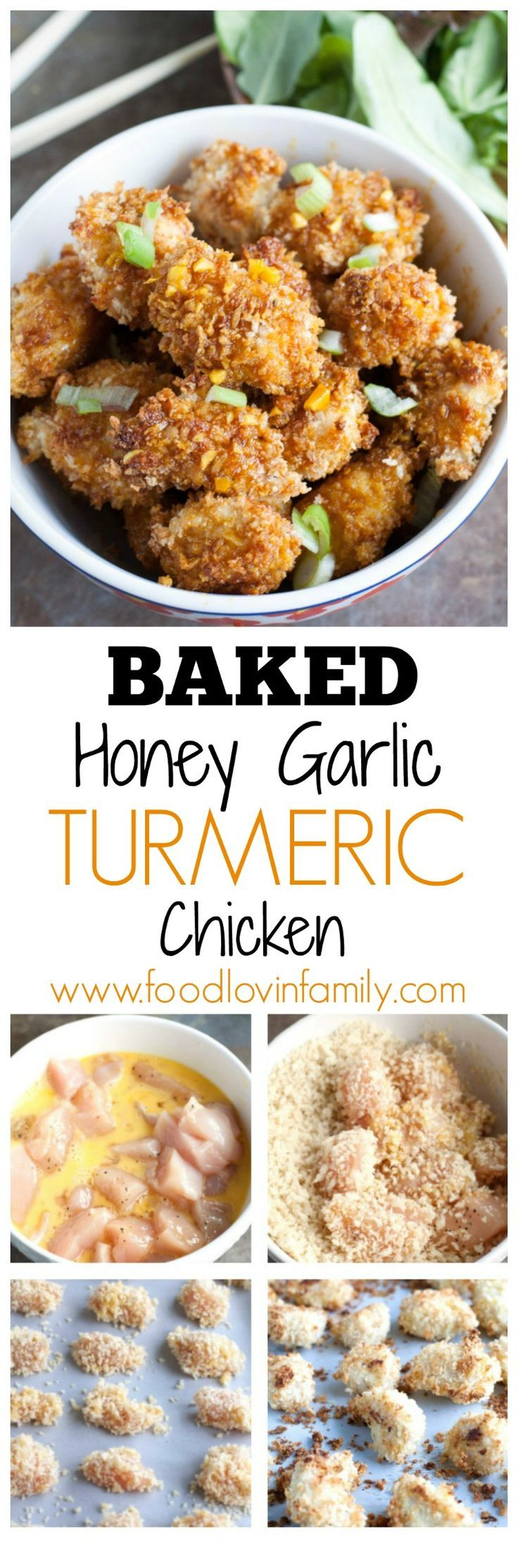 Baked honey garlic turmeric chicken packs a lot of flavor into crispy chicken bites. Great by themselves or served with rice, noodles or vegetables. This recipe is delicious and a must try!! | http://www.foodlovinfamily.com/baked-honey-garlic-turmeric-chicken/