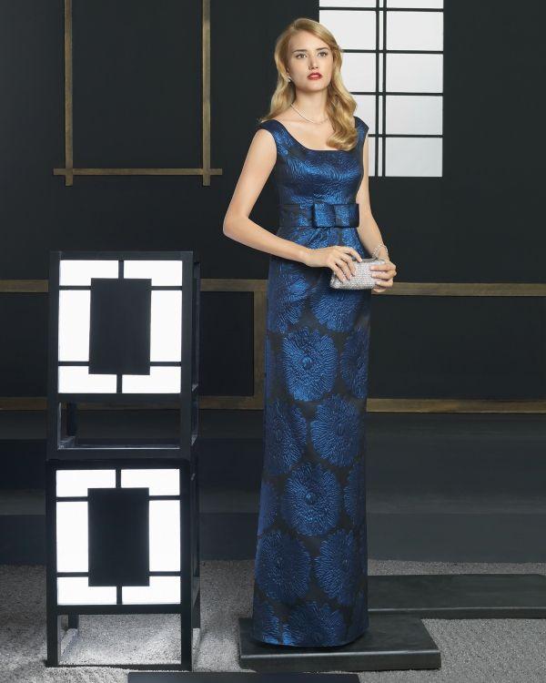 Imagen 3317 Vestido de brocado y estampado largo. Color azul | HISPABODAS