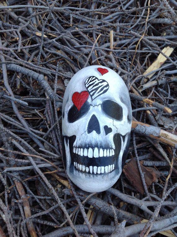 Lovely Bones - hand painted Skull n Hearts