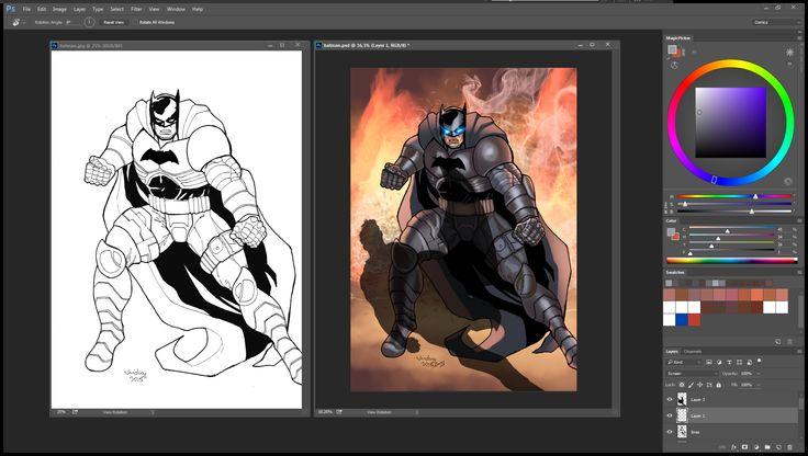 here's a side by side. art Nhickoy , colors (me)        #BatmanVSuperman #Comics #DCComics #MakingComics #ComicsTalk