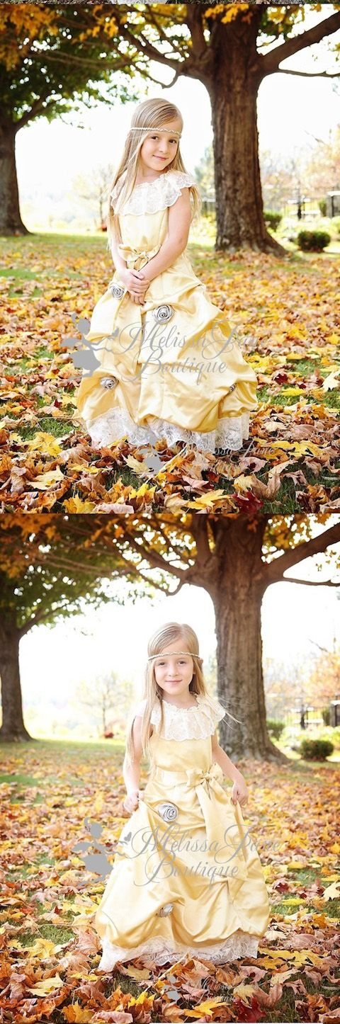 Golden Day Dreams Princess Flower Girl Dress