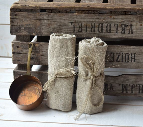 NATURAL linen tea towels French country  / shabby chic kitchen /Two linen torchon/ eco friendly. $54.00, via Etsy.