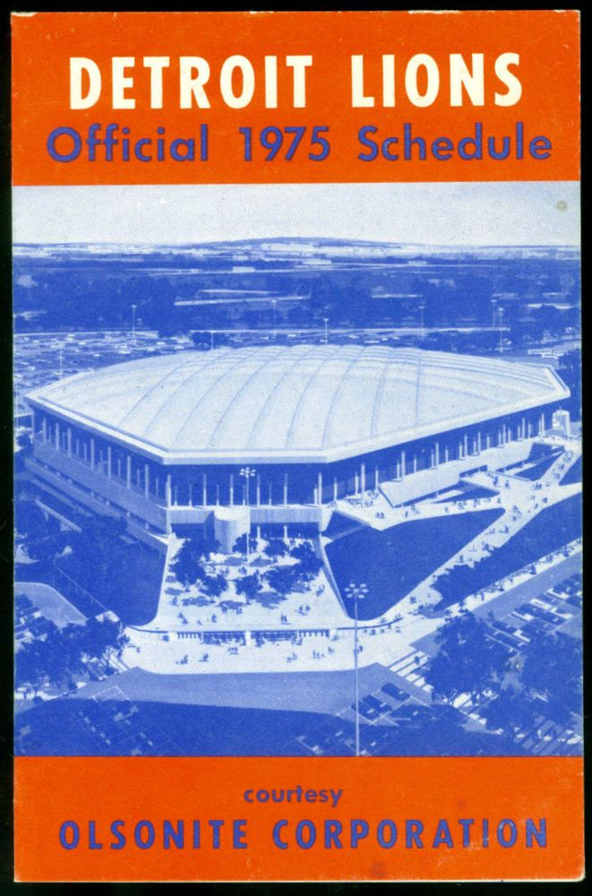 1975 DETROIT LIONS OLSONITE CORPORATION FOOTBALL POCKET SCHEDULE FREE SHIPPING