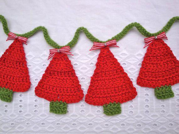 Crochet Christmas tree bunting  red  green handmade  by GerdaBags, £19.90