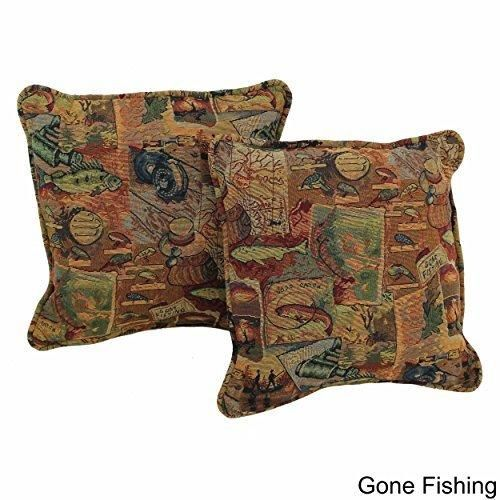 18x18 Green Red Southwestern Throw Pillows Geometric Tribal Fish Pattern Southwest Rustic Country Themed Pillow Square Gone Fishing Headrest Cushion