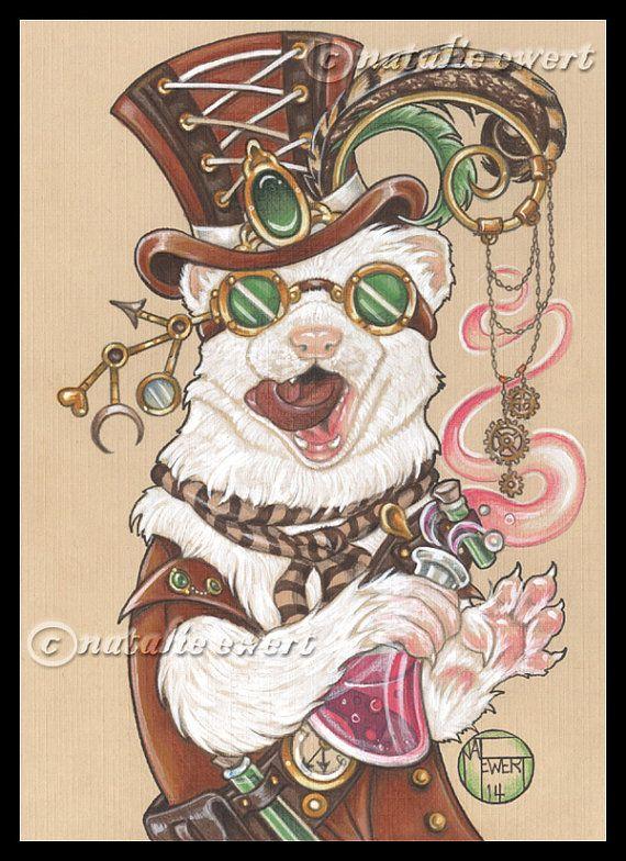 Dr. Weaselhoffer Steam Punk Ferret Signed Art Print - You Choose - 2.5x3.5, 5x7…