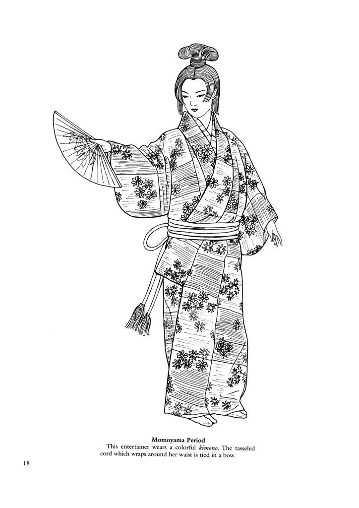 Find This Pin And More On Asian Art Japanese Clothing Colouring Pages