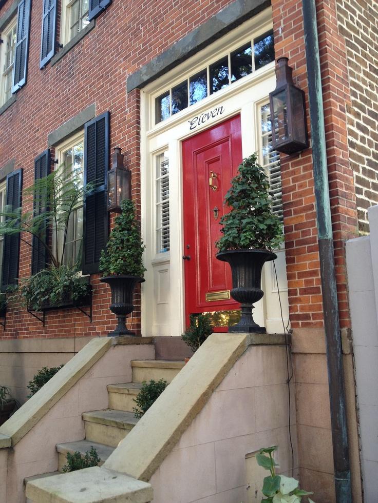 Red door on Historic Jones St. in Savannah