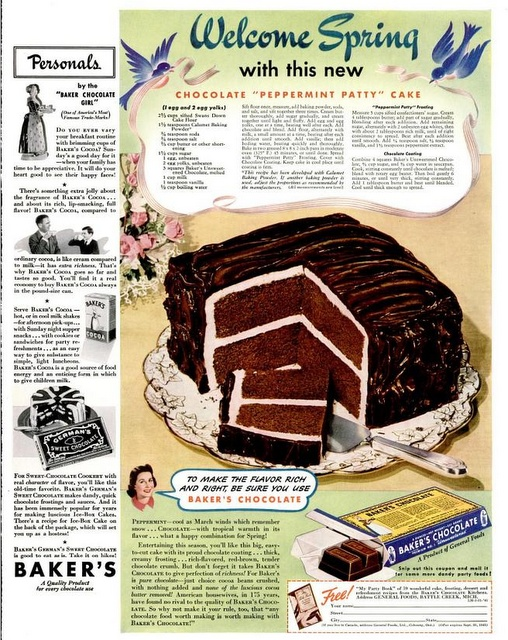 I love Peppermint Patty candies.  I never new there was a National Pepperment Patty day. Must make cake.