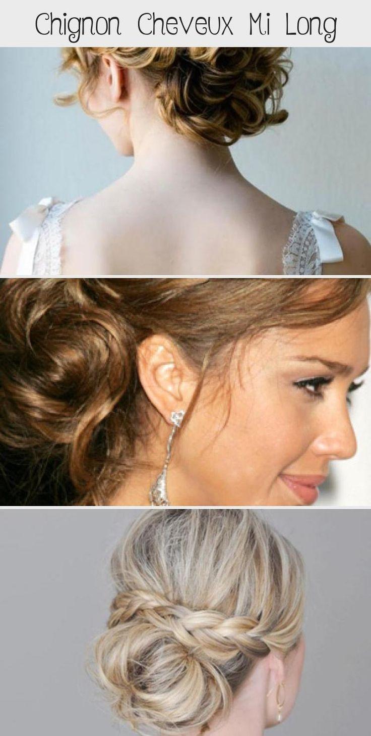 chignon cheveux mi long   Coiffure simple et facile #cheveuxmilongCarre #cheveuxmilongAdo # ...