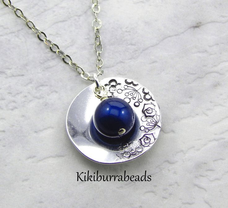 Peacock Pendant Necklace,Sterling Silver,Disc Necklace,Pearl Necklace,Hand Stamped Jewelry,Botanical Necklace by Kikiburrabeads on Etsy