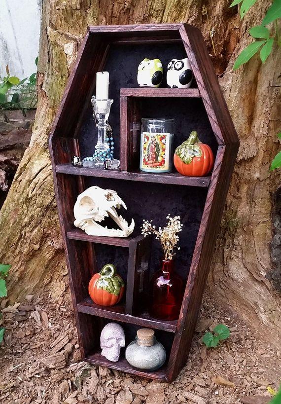Coffin Shelf, Cubby Shelf, Display Case, Cross, Gothic, Gothic Furniture, Coffin Decor