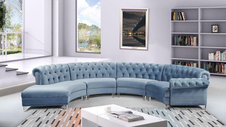 Anabella 4 Blue Sectional Sofa 697, Meridian Furniture Nashville
