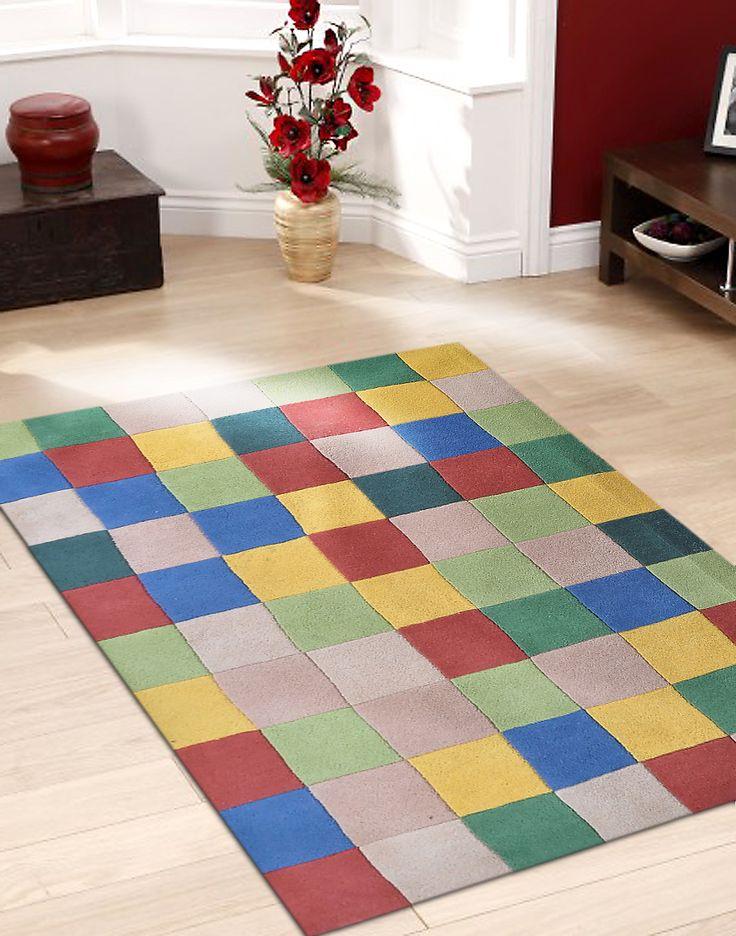 multicolour geometrical checkbox design handtufted wool area rug 5x8 feet