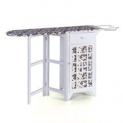 Mueble plancha madera blanco flores muebles para planchar en tu tienda muebles y - Mueble de planchar ...