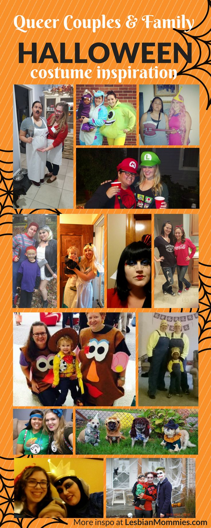 Queer Family and Couple Halloween Inspiration! Lesbian halloween, Lesbian Couple Costume, Queer Couple Costume, Gay Halloween Costume