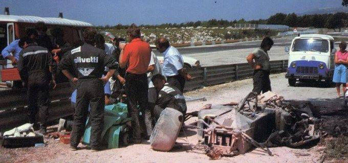 Elio de Angelis was killed while testing the Brabham BT55, Paul Ricard Circuit May 1986.