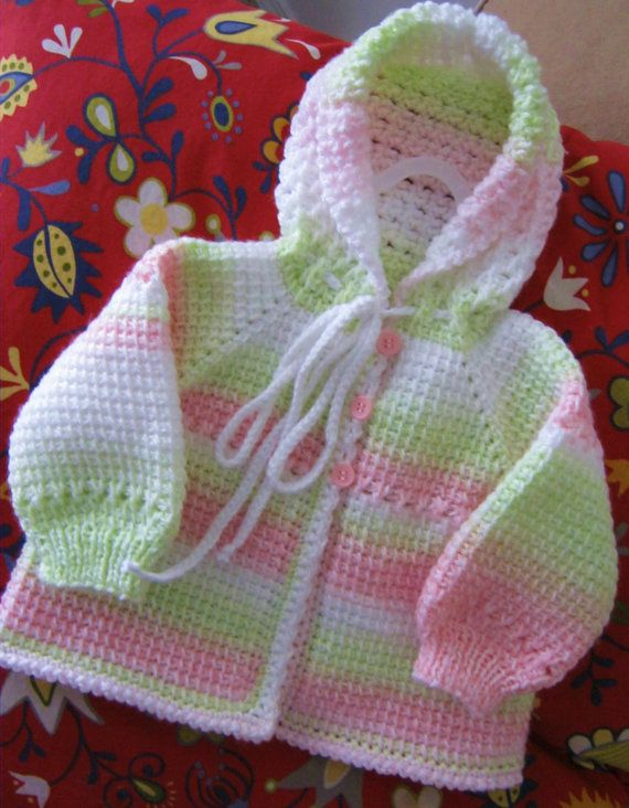 Cute Pink Green White Crochet Baby Girl by ForBabyCreations