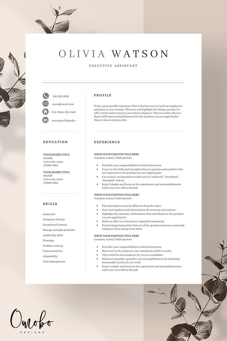 Resume template, Professional resume template, Resume