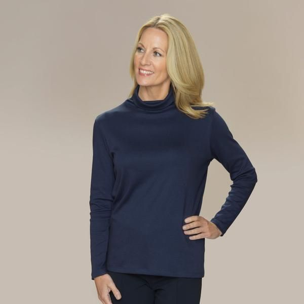 Ramona pima cotton roll neck top long sleeves navy blue